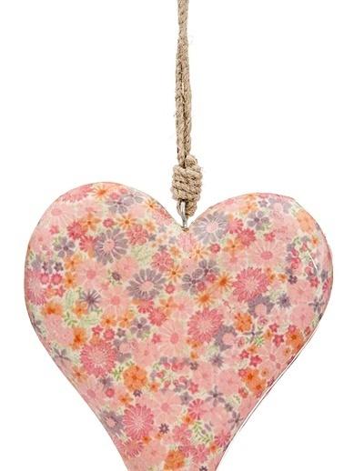 Vitale Çiçek Desenli Kalp Büyük Boy Pembe